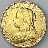 1 фунт (соверен). 1894. Виктория I. Великобритания (золото 917, вес 7,97 г), фото №11