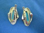 Набор кольцо и серьги серебро,золото,бирюза., фото №6