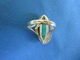 Набор кольцо и серьги серебро,золото,бирюза., фото №9