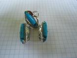 Набор кольцо и серьги серебро,золото,бирюза., фото №11
