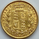 1 фунт (соверен). 1851. Великобритания (золото 917, вес 7,96 г), фото №6