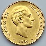 25 песет. 1880. Альфонсо XII. Испания (золото 900, вес 8,09 г), фото №2