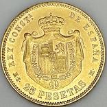 25 песет. 1880. Альфонсо XII. Испания (золото 900, вес 8,09 г), фото №10