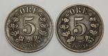 2 монеты по 5 оре, 1976 г Норвегия, фото №2