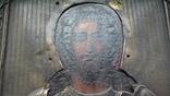 Икона в латунном окладе. Господь Вседержитель. . 22 см х 27 см. Россоя., фото №5