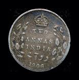 Британская Индия 2 анны 1906 серебро, фото №3