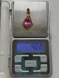 Кулон с камнем золото 585 СССР (звезда), фото №11