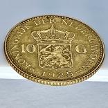 10 гульденов. 1925. Королева Вильгельмина. Нидерланды (золото 900, вес 6,70 г), фото №8