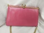 Винтажная розовая сумочка с длинной ручкой цепочкой. Можно носить как клатч. 24х17х4,5см, фото №8
