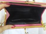 Винтажная розовая сумочка с длинной ручкой цепочкой. Можно носить как клатч. 24х17х4,5см, фото №10