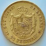 25 песет. 1878. Альфонсо XII. Испания (золото 900, вес 8,06 г), фото №9