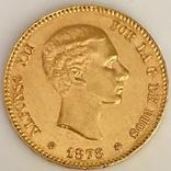 25 песет. 1878. Альфонсо XII. Испания (золото 900, вес 8,06 г), фото №11