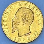 20 лир. 1863. Витторио Эмануэле II. Италия (золото 900, вес 6,43 г), фото №2