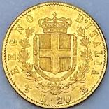20 лир. 1863. Витторио Эмануэле II. Италия (золото 900, вес 6,43 г), фото №7