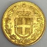 20 лир. 1882. Умберто I. Италия. (золото 900, вес 6,47 г), фото №5