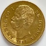 20 лир. 1882. Умберто I. Италия. (золото 900, вес 6,47 г), фото №13