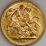 1 фунт (соверен). 1906. Эдуард VII. Великобритания (золото 917, вес 8,00 г), фото №5