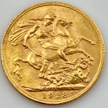 1 фунт (соверен). 1928. Георг V. Великобритания (проба 917, вес 8,00 г), фото №7