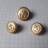 Пуговицы с якорем металл, 19 и 14 мм, фото №2