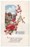 Старинная поздравительная. Пейзаж, цветы. П/п 1925 г., фото №2