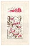 Старинная поздравительная с тиснением. Напоминание о родном доме. Чистая, 1910-е г., фото №2