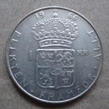 1 крона 1966 Швеция серебро (9.1.6), фото №2
