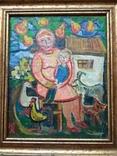 """Мама с сыночком"" х.м. 32х26. Ю.Коваленко (1931-2004), фото №3"