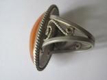 Кольцо природный янтарь мельхиор, фото №5