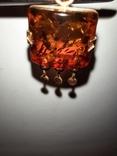 Кулон золото янтарь, фото №2