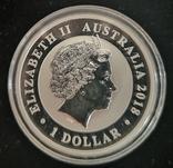 Австралия 1 доллар 2018 г. Райская Птица серебро 1 унция 999 пробы, фото №3