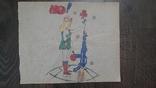 Рисунок на кальке лист дембельского альбома Девушка автомат мир, фото №2