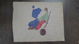 Рисунок на кальке лист дембельского альбома козак пушка ружье ядро, фото №2