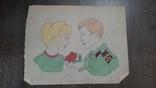 Рисунок на кальке лист дембельского альбома солдат девушка роза, фото №2