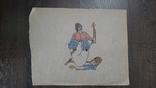 Рисунок на кальке лист дембельского альбома козак уборщик, фото №2