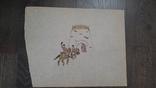 Рисунок на кальке лист дембельского альбома козак лошадь вежа на войну, фото №2