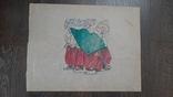 Рисунок на кальке лист дембельского альбома козак гроза дождь, фото №2