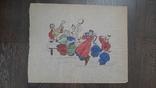 Рисунок на кальке лист дембельского альбома козак танцы застолье, фото №2