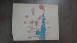 Рисунок на кальке лист дембельского альбома дети автомат сша колючка цветок, фото №2