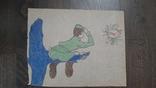 Рисунок на кальке лист дембельского альбома солдат на дереве когда ДМБ, фото №2