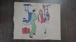 Рисунок на кальке лист дембельского альбома солдат девушка встреча, фото №2