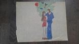 Рисунок на кальке лист дембельского альбома парень девушка гражданка, фото №2