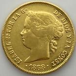 4 песо. 1868. Изабелла II. Филиппины (золото 875, вес 6,71 г), фото №5