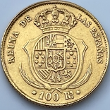 100 реалов. 1862. Изабелла II. Испания (золото 900, вес 8,35г), фото №5