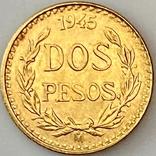 2 песо. 1945. Мексика (золото 900, вес 1,68 г), фото №2
