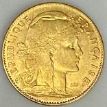 """10 франков. 1900. """"Петух"""" Франция (золото 900, вес 3,23 г), фото №2"""