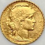 20 франков. 1905. Франция. Петух (золото 900, вес 6,45 г), фото №5