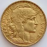 20 франков. 1905. Франция. Петух (золото 900, вес 6,45 г), фото №2