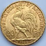 20 франков. 1905. Франция. Петух (золото 900, вес 6,45 г), фото №7
