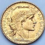20 франков. 1906. Петух. Франция (золото 900, вес 6,46 г), фото №2