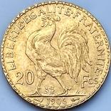 20 франков. 1906. Петух. Франция (золото 900, вес 6,46 г), фото №8